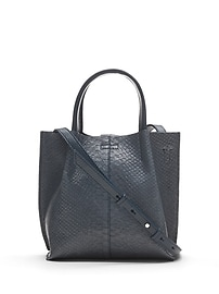 Snake-Effect Italian Leather Mini Structured Tote