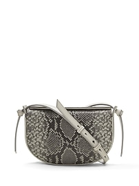 Snake-Effect Italian Leather Structured Half-Moon Crossbody