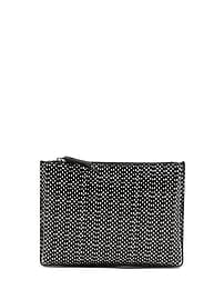Snake Dot Leather Small Pleated Zip Pouch