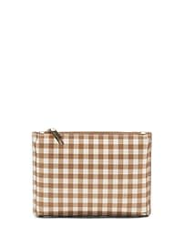 Gingham Small Pleated Zip Pouch