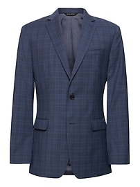 Standard Navy Plaid Italian Wool Suit Jacket