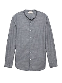 Heritage Grant Slim-Fit Chambray Banded-Collar Shirt