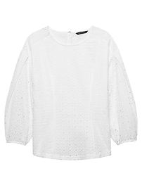 Eyelet Bubble-Sleeve Top