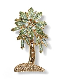 Jeweled Palm Leaf Brooch