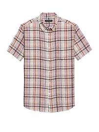 Chemise à manches courtes en lin à carreaux, coupe Camden standard