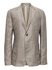 Heritage Slim Khaki Linen Blazer