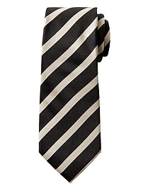 Cravate rayée en sergé et soie NanotexMD