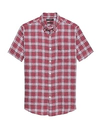 Camden Standard-Fit Linen Plaid Shirt