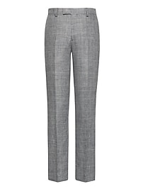 Slim Gray Plaid Linen Suit Trouser