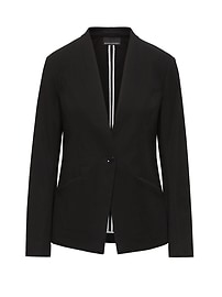 LIFE IN MOTION Long and Lean-Fit Machine-Washable Ponte Blazer