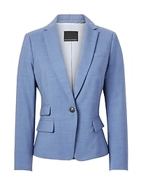 Fitted Crop Lightweight Wool Blazer