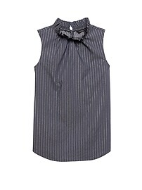 Metallic Stripe Ruffle-Neck Top