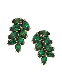 Jeweled Palm Leaf Stud Earring