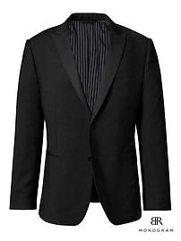 Slim Monogram Black Italian Wool-Mohair Tuxedo Jacket
