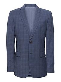 Veston de complet en laine italienne bleu marine à carreaux, coupe étroite