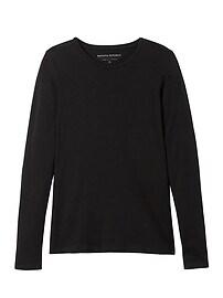 T-shirt ras du cou à manches longues en coton modal extensible