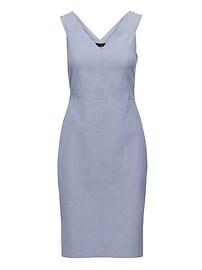 Twill Double-V Sheath Dress