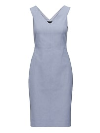 Twill Double-V Sheath Dress