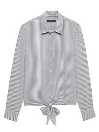 Dillon Classic-Fit Stripe Tie-Front Shirt