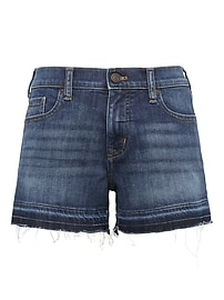 "Raw-Hem Medium Wash 3"" Denim Short"