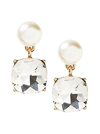 Mixed Jewel and Pearl Drop Earring