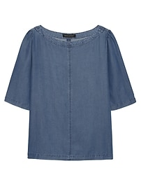 Chambray Elbow-Sleeve Top