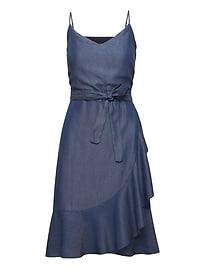 Chambray Ruffle Wrap Dress