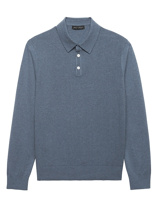 Pima Cotton Cashmere Textured Sweater Polo by Banana Repbulic