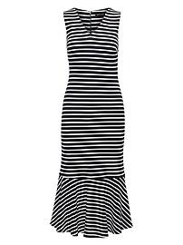 Stripe Ponte Flounce Midi Dress