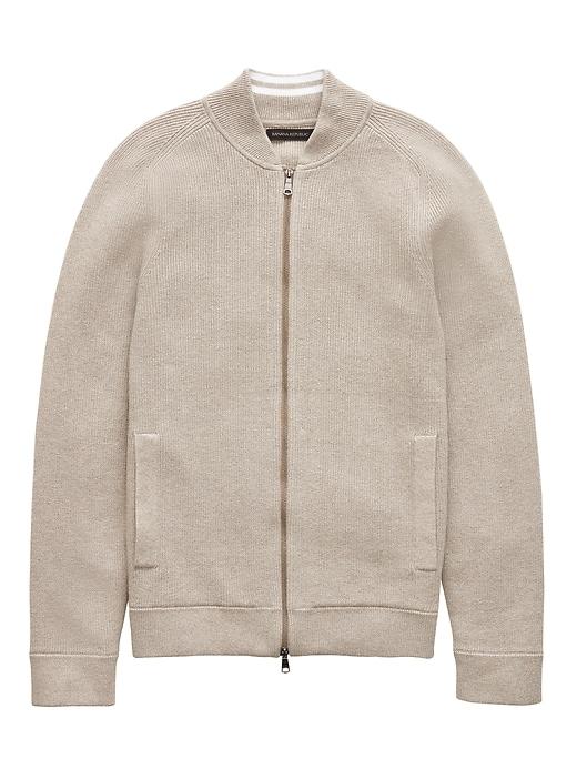 Supima® Cotton Ribbed Sweater Bomber by Banana Repbulic