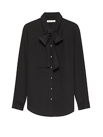 Heritage Dillon-Fit Tie-Front Semi-Sheer Silk Shirt