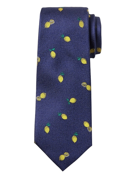 Lemon Print Silk Nanotex® Tie by Banana Repbulic