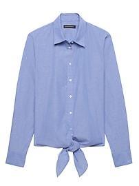 Dillon Classic-Fit Stripe Tie-Hem Shirt