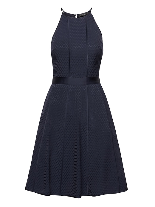 Polka Dot Paneled Fit And Flare Dress by Banana Repbulic