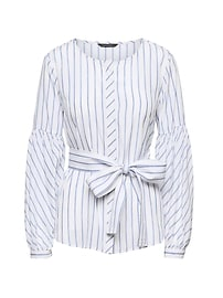 Stripe Bubble-Sleeve Top with Optional Tie at Waist