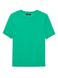 Machine-Washable Merino Short-Sleeve Crew