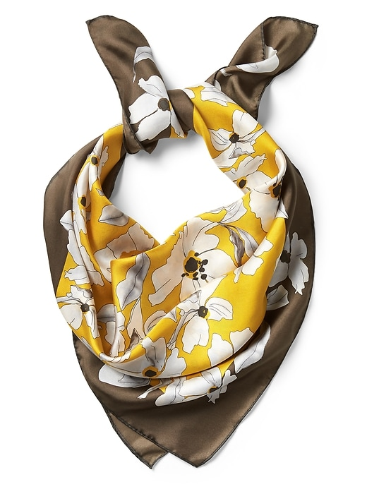 June Yellow Floral Large Square Silk Scarf by Banana Repbulic