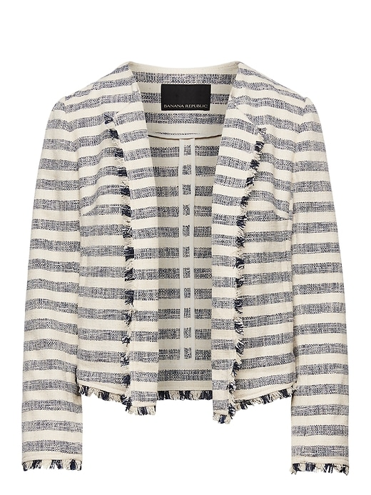 Bouclé Stripe Jacket With Frayed Edges by Banana Repbulic