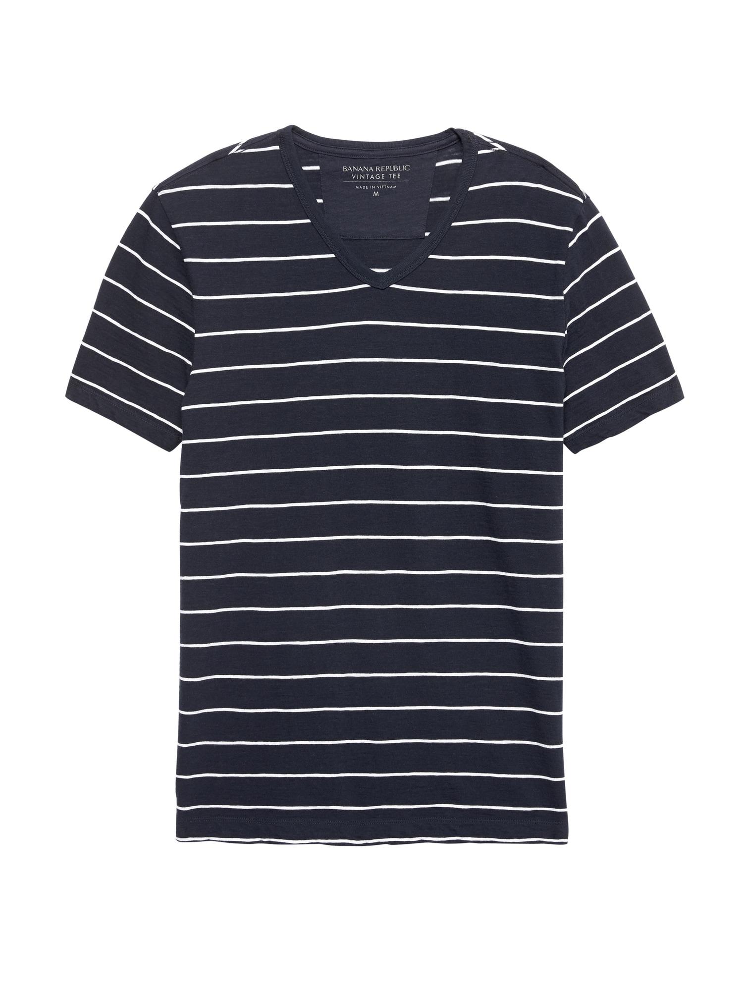 fef5b9185dd Vintage 100% Cotton Stripe V-Neck T-Shirt