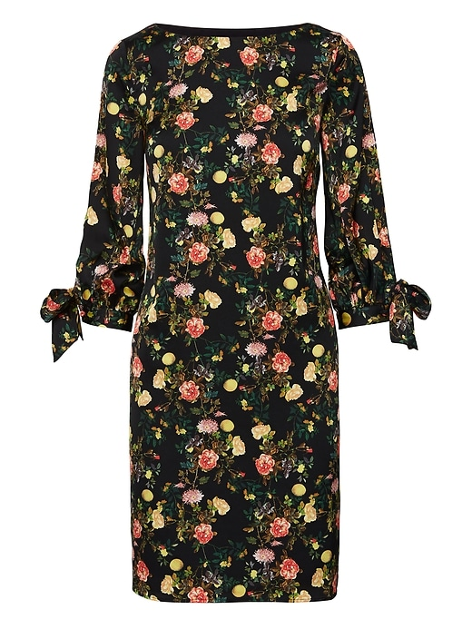 Floral Tie Sleeve Shift Dress by Banana Repbulic