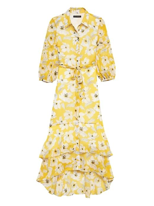 Floral Tiered Maxi Shirt Dress by Banana Repbulic