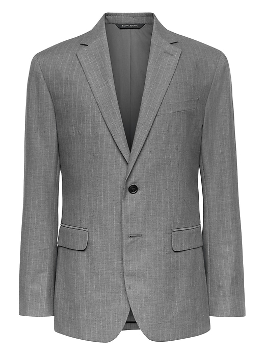 Slim Gray Pinstripe Italian Cotton Suit Jacket by Banana Repbulic