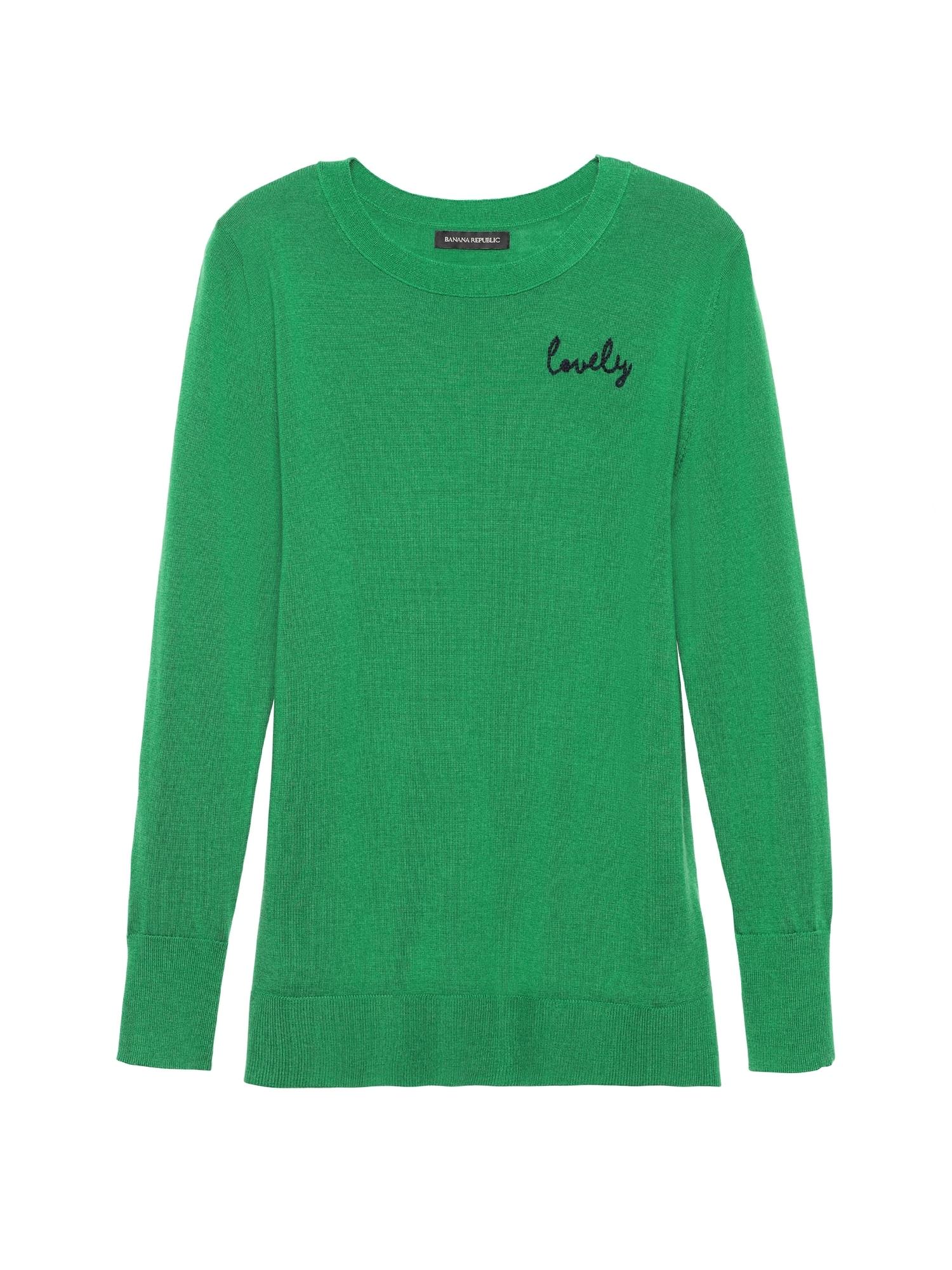 2efbff01ce1 Petite Machine-Washable Merino Crew Sweater with Embroidery