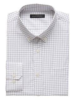 NOUVELLE chemise en coton techno extensible quadrillée, coupe étroite