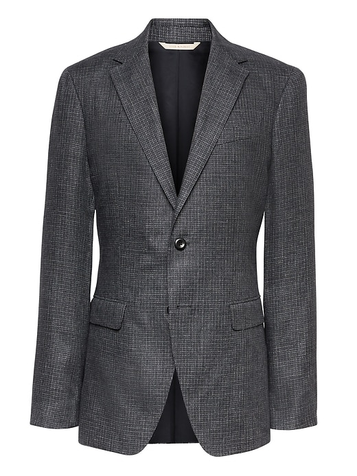 Heritage Slim Irish Check Linen Suit Jacket by Banana Repbulic