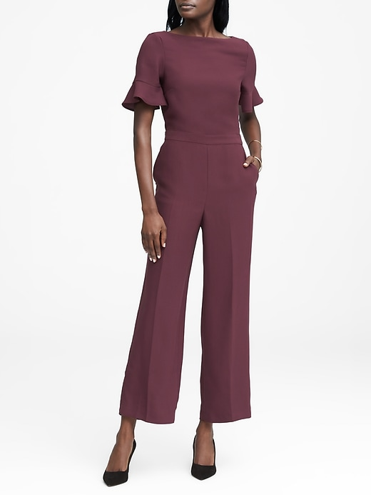 Flutter Sleeve Cropped Jumpsuit by Banana Repbulic