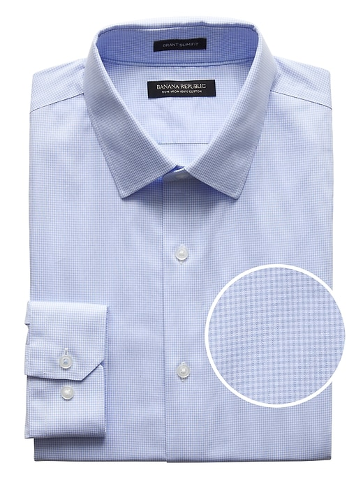 Grant Slim Fit Non Iron Gingham Dress Shirt by Banana Repbulic