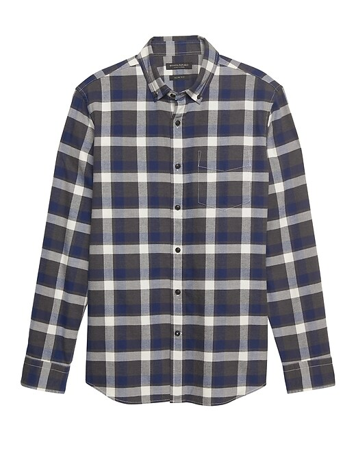Grant Slim Fit Luxe Flannel Plaid Shirt by Banana Repbulic