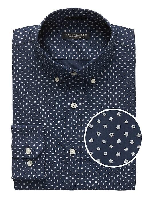 New Slim Fit Tech Stretch Cotton Print Shirt by Banana Repbulic
