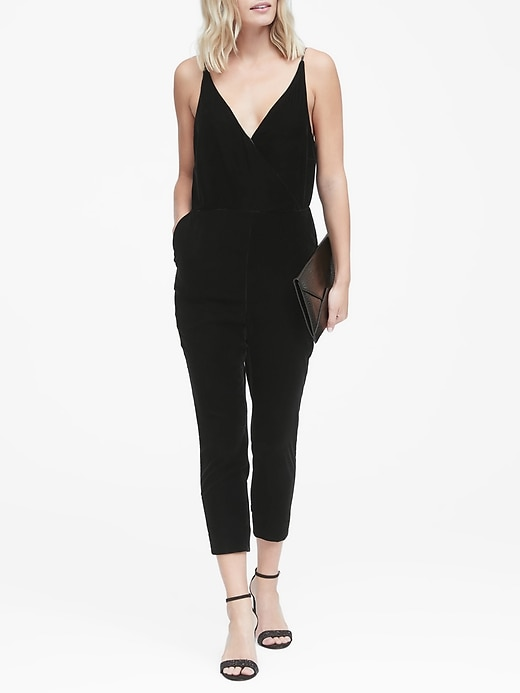 Velvet Cropped Jumpsuit by Banana Repbulic